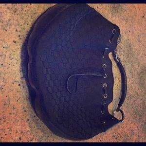 Black canvas GG Hobo bag leather trim